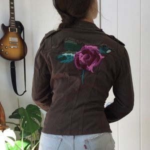 OUI Flower Embroidered Military Jacket